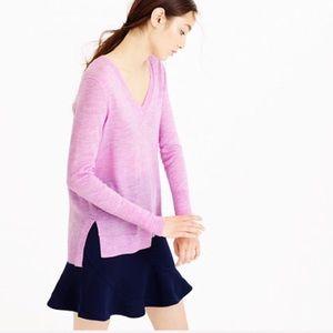 J. Crew merino Wool pink v neck loose knit sweater